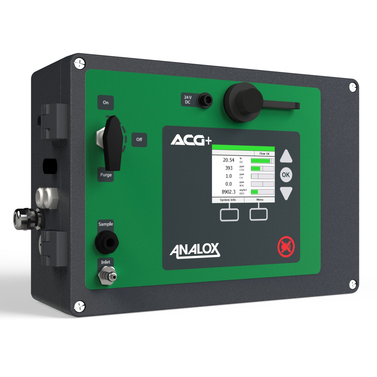 A rendering showing the ACG+ breathing air monitor from Analox. Front view showing main input controls.