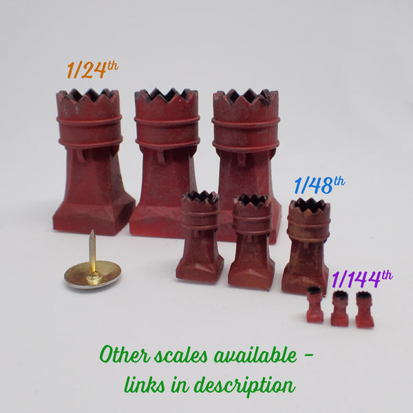 'Crown' style chimney pot set, 1/48th scale