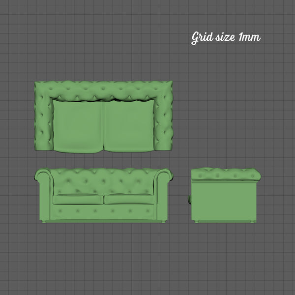 2 seat Chesterfield sofa, 1/144th scale