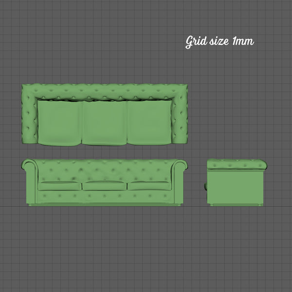 3 seat Chesterfield sofa, 1/144th scale