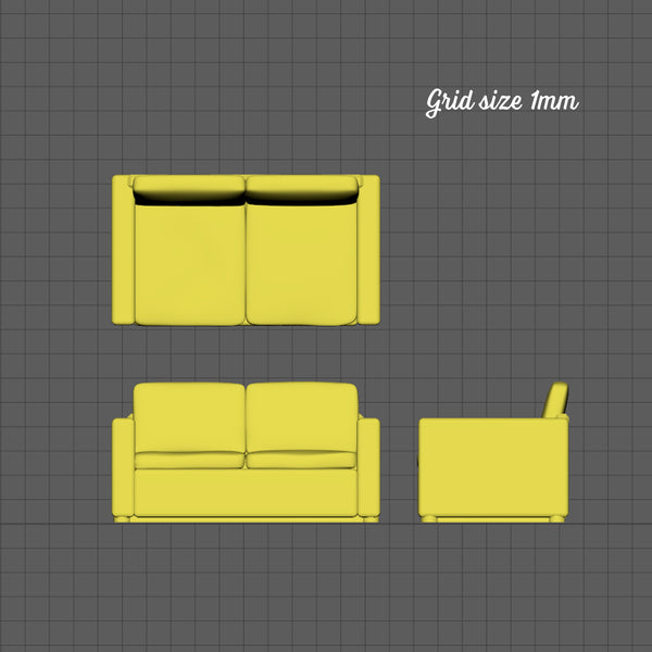 Contemporary 2 seat sofa, 1/144th scale
