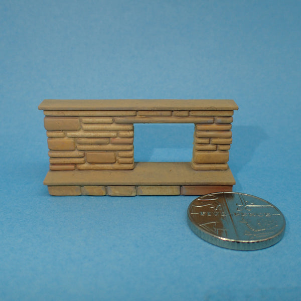 Midcentury modern style 1950s fireplace, 1/48th scale