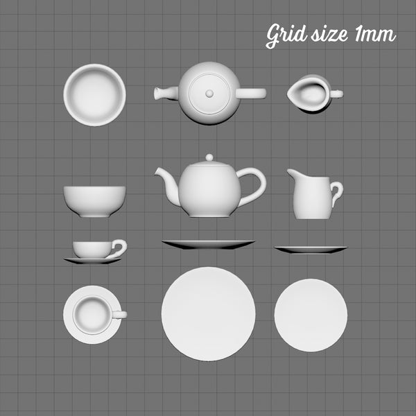 Classic tea set for two, 1/48th scale