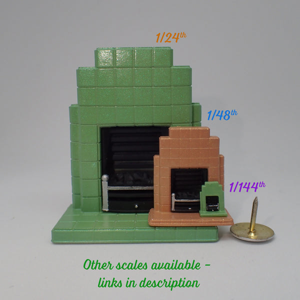 1930s style tiled fireplace, 1/144th scale