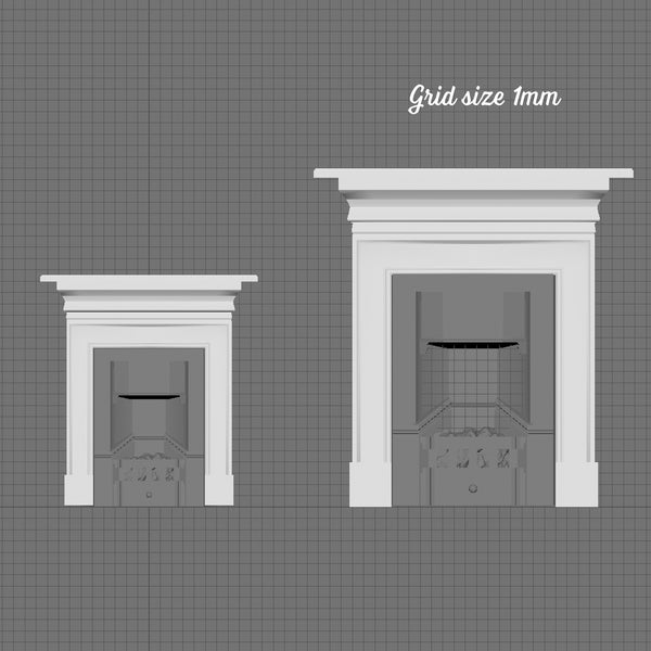 Fireplace with mantelpiece, 1/48th scale