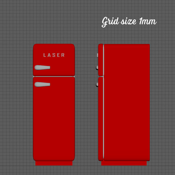 Retro style fridge, 1/48th scale