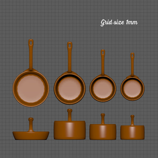 Traditional pans set, 1/24th scale