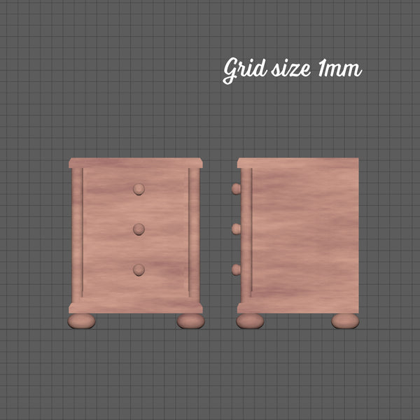 Mini bedside chest of drawers, 1/48th scale