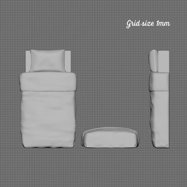 Single mattress and bedding, 1/48th scale