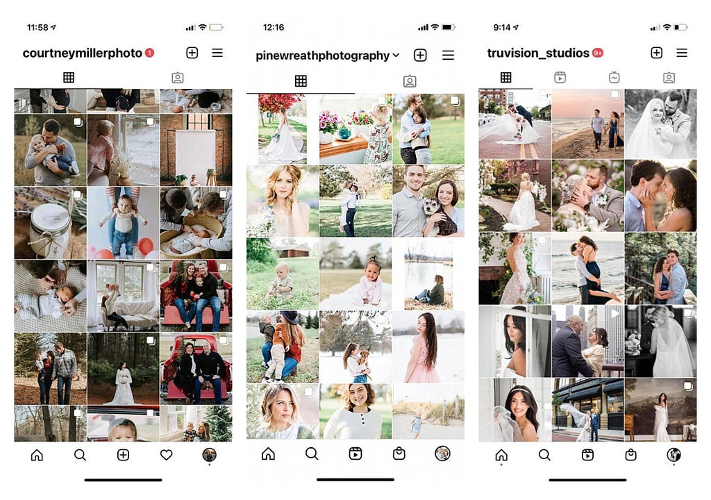 Examples of three different consistent photography brand Instagram feeds, all using Mastin Labs presets.