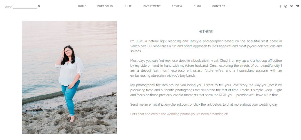 Screenshot of the About page on a photography website.