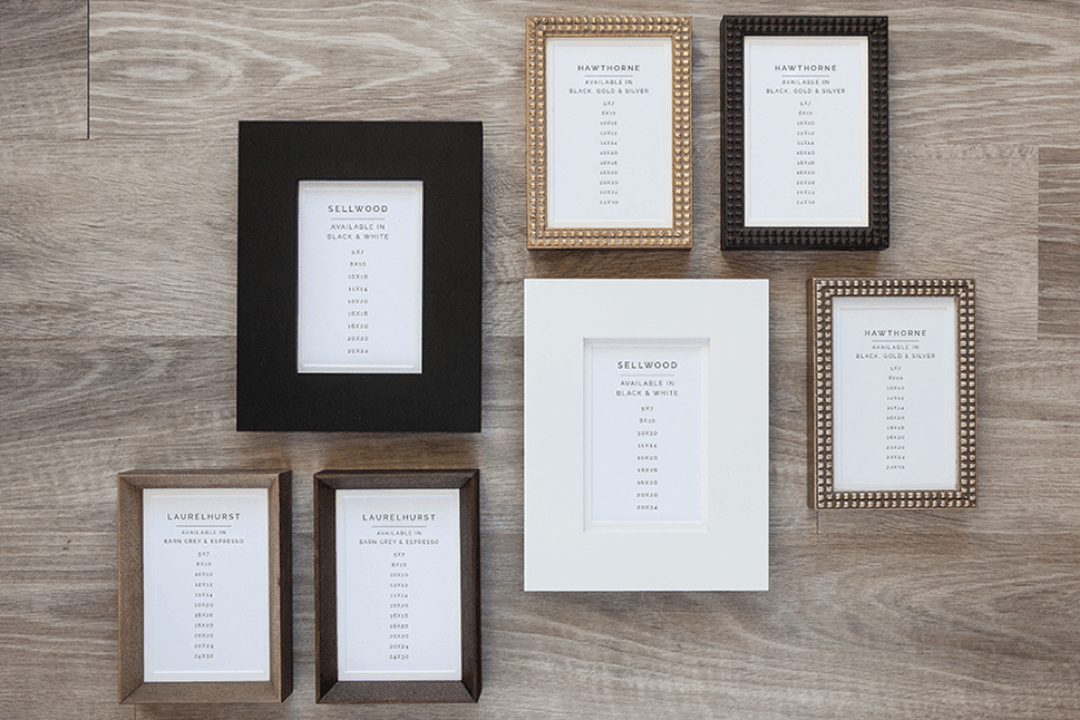display of different types of wall frames that photographers can provide to their clients