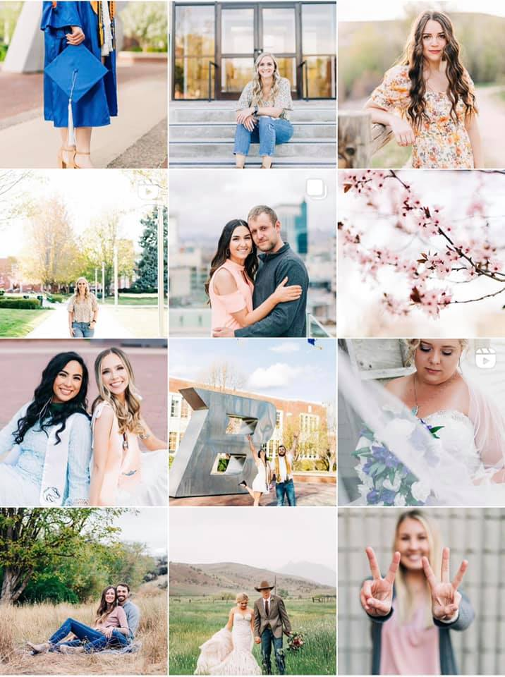 Compilation of photos featuring families, couples, and portraits taken after the photographer gained confidence