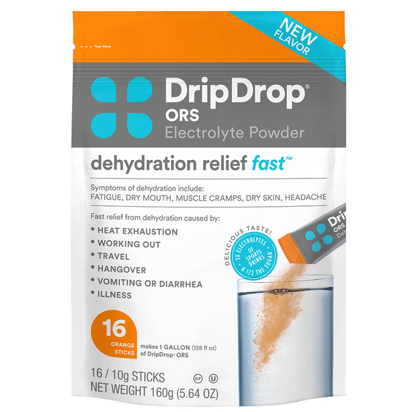 Heat exhaustion symptoms: A pouch of orange flavored oral rehydration solution