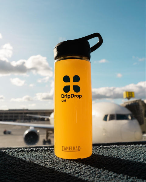 DripDrop ORS tumbler inside the airport