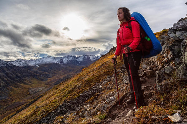 winter exercise: woman hiking