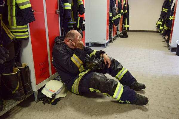 Low sodium levels: Exhausted Fire Fighter