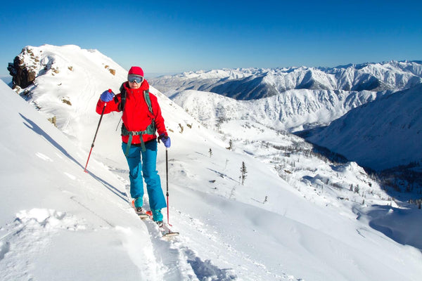 winter exercise: woman skiing