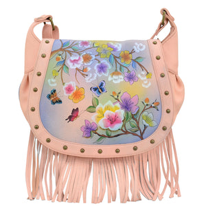Fringed Flap Saddle Bag - 619