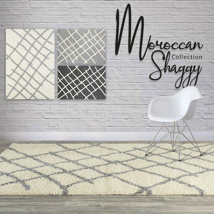 Moroccan Shaggy Ivory Area Rug
