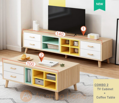 Summer Mix Colour TV Cabinet Console Table With Coffee Table Set
