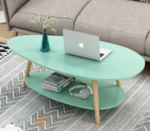 Tiffany Green Double Layer Oval Coffee Table