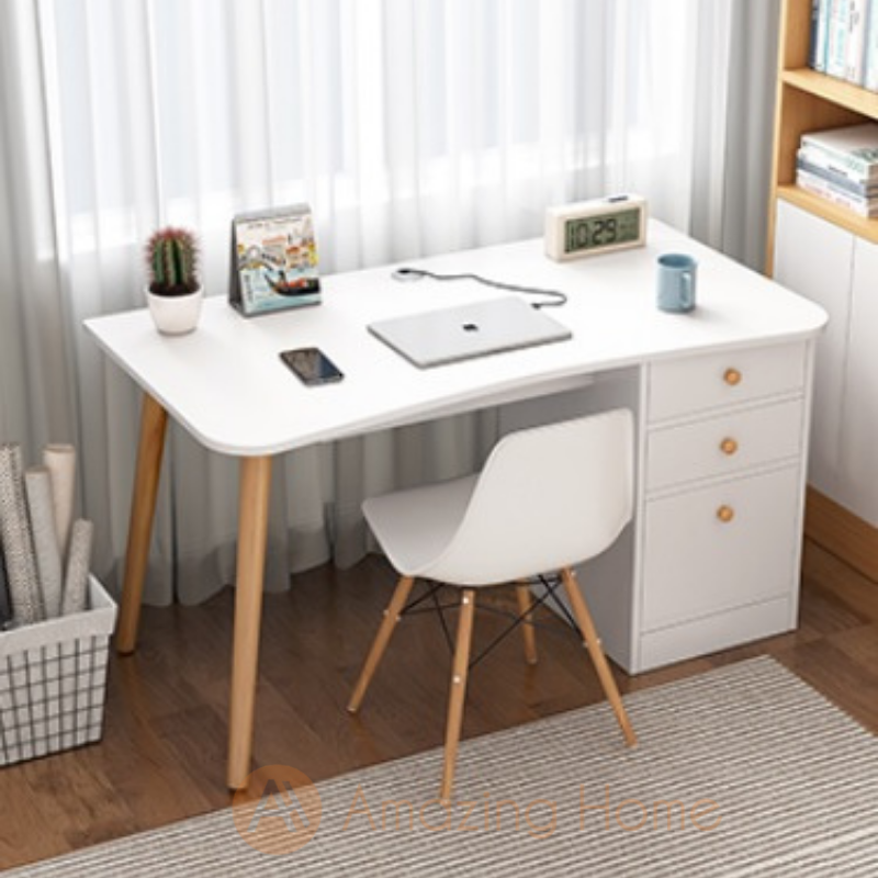 Vidal Curve Edge Study Table With Drawer Cabinet Medium