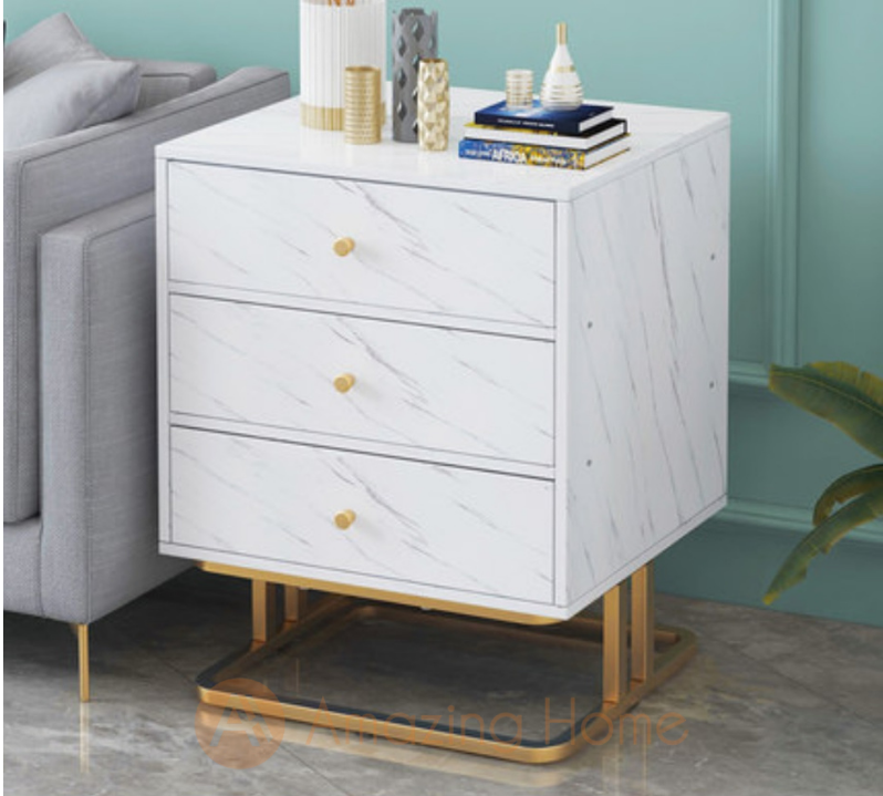 Walker Metal Frame Bedside Table With 3 Drawer