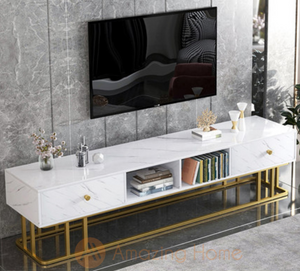 Walker TV Cabinet Console Marble White