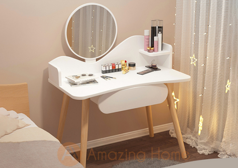 Dora Dressing Table With LED Touch Screen Makeup Mirror & 1 Drawer