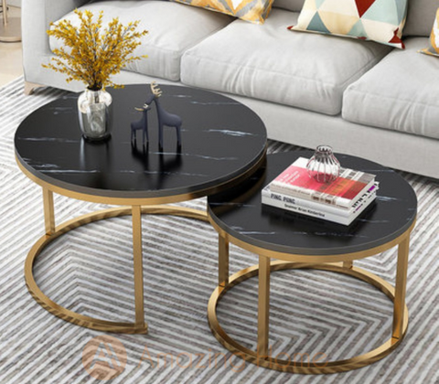 Walker Metal Frame Black Nesting Coffee Table Set