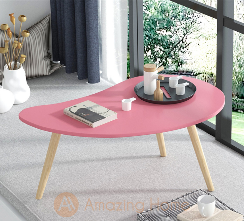 Minimi Teardrop Shaped Pink Table