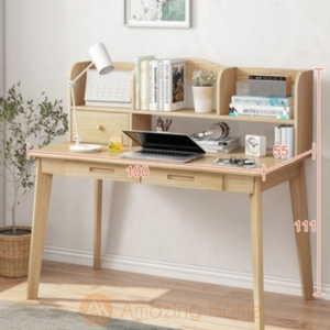 Andorra Study Table 2 Drawer With Bookshelf Small