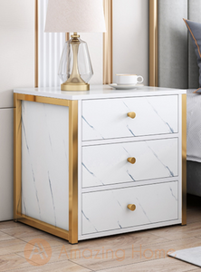 Henric 3 Drawer White Bedside Table Bedside Cabinet Metal Frame