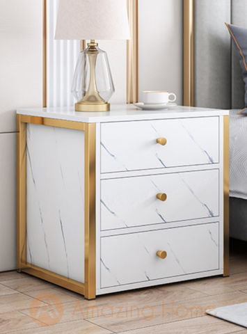Henric 3 Drawer White Bedside Table Metal Frame