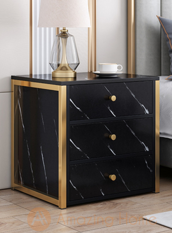 Henric 3 Drawer Black Bedside Table Metal Frame