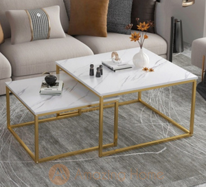 Walker Marble White Square 2 Piece Nesting Coffee Table Set