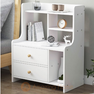 Blanca Bedside Table With Storage Shelf & 2 Drawer