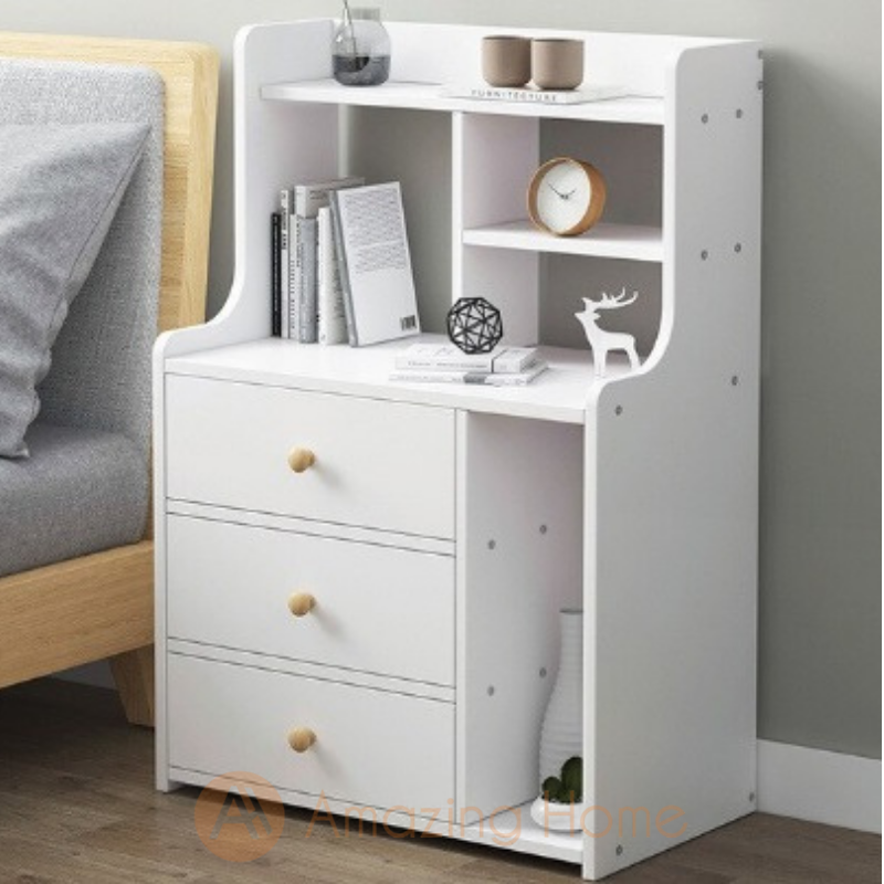Blanca Bedside Table With Storage Shelf & 3 Drawer