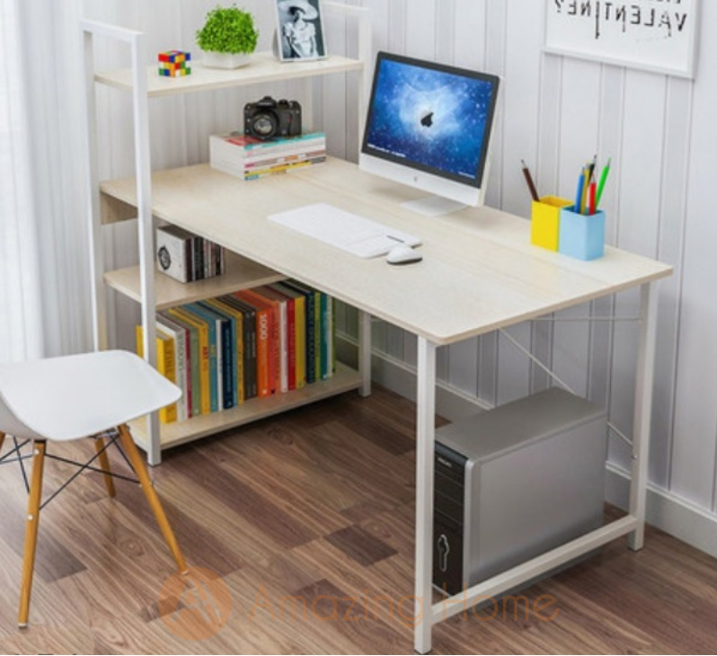 Tommy Study Table Computer Desk Large With Bookshelf