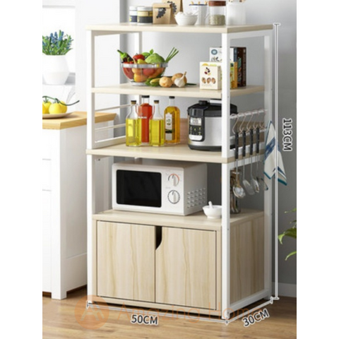 Phoenix 4 Tier Kitchen Shelving Unit With Cabinet