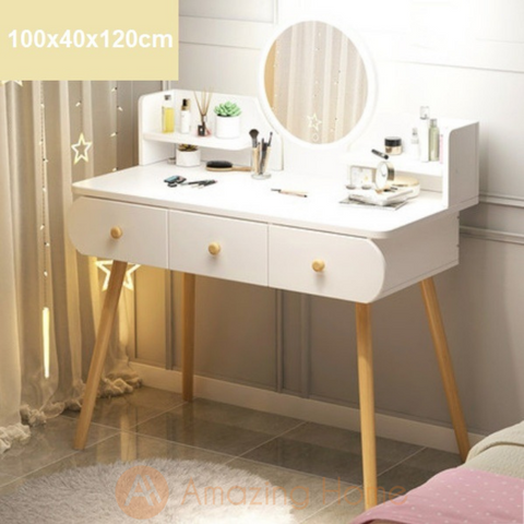 Dora Dressing Table With LED Touch Screen Makeup Mirror & 3 Drawer