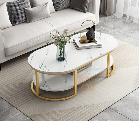 Walker Two Layer Rectangle Round Edge Coffee Table