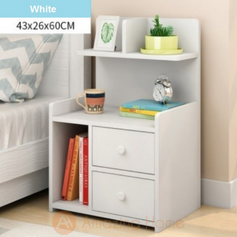 Enkel White Bedside Table With 2 Drawer & Shelf