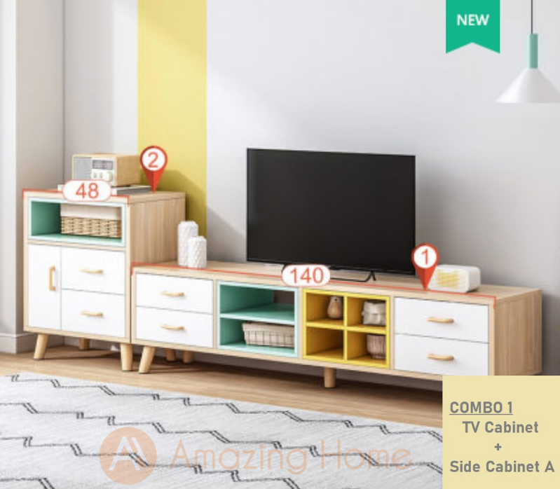 Summer Mix Colour TV Cabinet Console Table With Side Cabinet Set