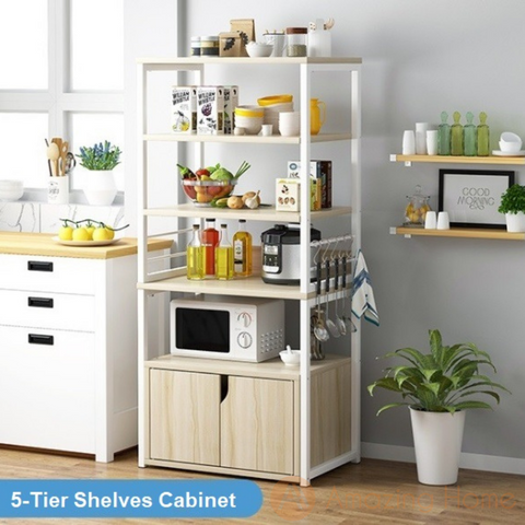 Phoenix 5 Tier Kitchen Shelving Unit With Cabinet
