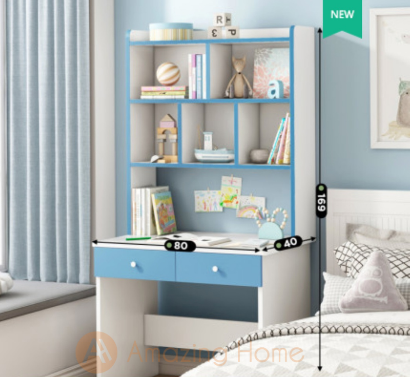 Taffy Kids Blue Study Table Study Desk With Book Shelf