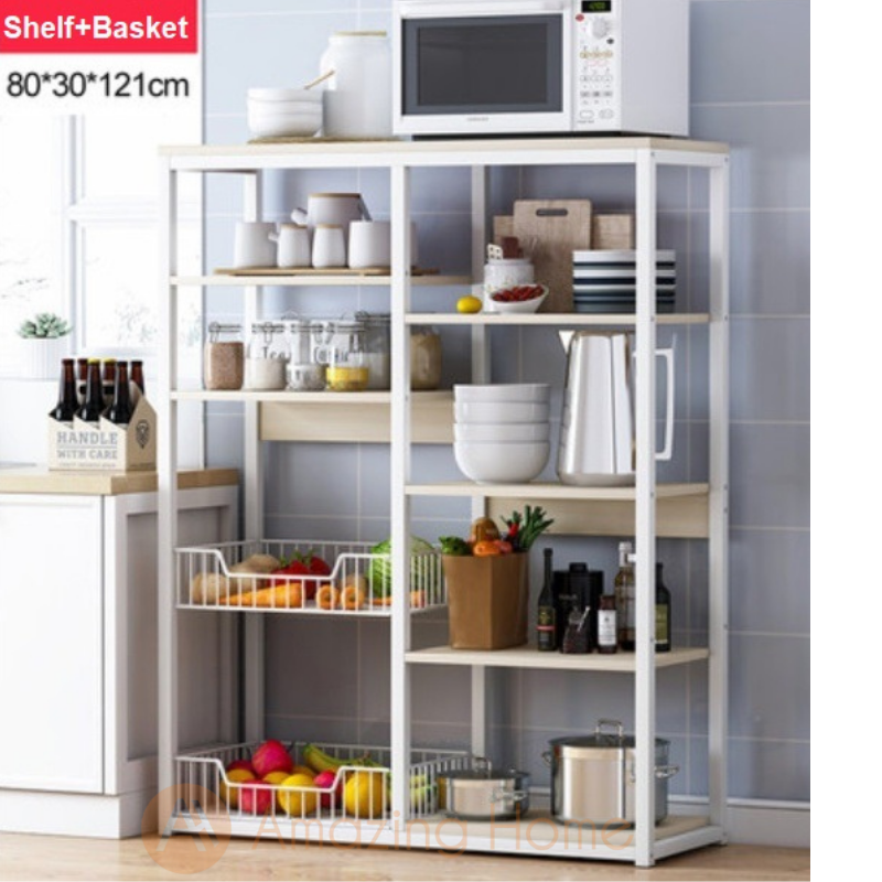 Phoenix 7 Tier Kitchen Shelving Unit Storage With 2 Basket