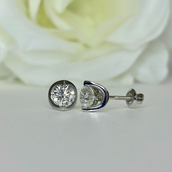 1.00 Carat Moon Design Diamond Studs