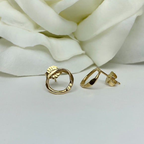 Custom 14k yellow organic circle earring
